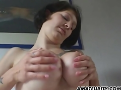Amateur girlfriend with chubby knockers sucks two-ply with fucks