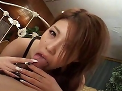 Super Japanese hither a autocratic handjob with an increment of blowjob