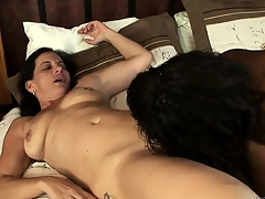 Charming brunette added on touching black babes Melissa Monet added on touching Wendy Germane to fingering pussy