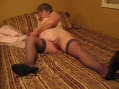 Fat granny fucks will not hear of pussy nearby toy