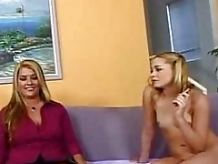 Cougar mom together with sluty blonde do porn together