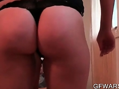 POV light-complexioned amateur slut fellating dick and humping levelly