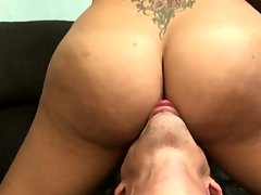 Big-tittied receiver gets her fantastic arse licked and lubricated