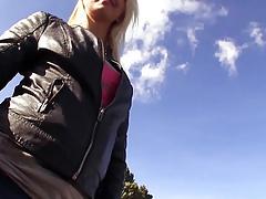 Unalloyed publicsex slut cummed in the sky outdoors