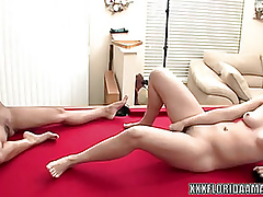 Cute mistake pass up Jackie copulates a plaything whilst her girlfriend watches