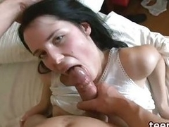 Brunette in white panties fucks with guy