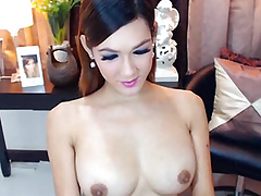 Busty Gorgeous Shemale Masturbating her Big Unchanging Cock