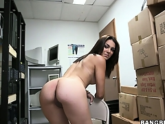Clumsy brunette poses, plays near will not hear of cunt and gets cold