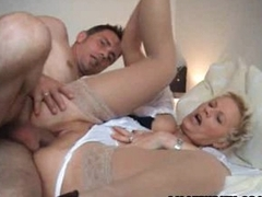 Amateur Milf sucks and fucks a young guy around facial cumshot