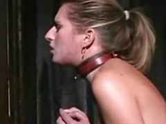 A blonde following girl takes a whipping